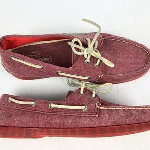 SPERRY TOP SIDER Boat Shoes Red/Clear Sole